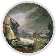 Burial At La Moncloa In May 1808 Oil On Canvas Round Beach Towel