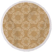 Burlap And White Geometric Flowers Round Beach Towel by Linda Woods