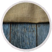 Burlap Texture On Wooden Table Background Round Beach Towel