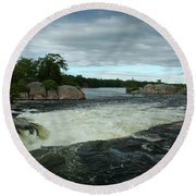 Round Beach Towel featuring the photograph Burleigh Falls by Barbara McMahon