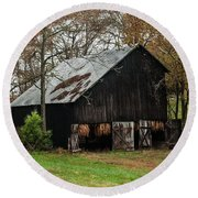 Round Beach Towel featuring the photograph Burley Tobacco  Barn by Debbie Green