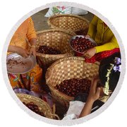 Round Beach Towel featuring the photograph Burmese Ladies Sorting Water Chestnuts Zay Cho Street Market 29th Street Mandalay Burma by Ralph A  Ledergerber-Photography