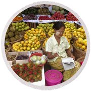 Burmese Lady Selling Colourful Fresh Fruit Zay Cho Street Market 27th Street Mandalay Burma Round Beach Towel