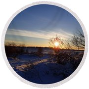 Round Beach Towel featuring the photograph Burning Bush by Robert Nickologianis