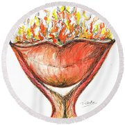 Round Beach Towel featuring the painting Burning Hot Lips by Teresa White