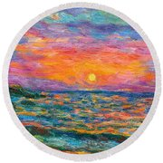 Burning Shore Round Beach Towel
