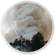 Round Beach Towel featuring the photograph Burnout Near Song Dog Road by Bill Gabbert