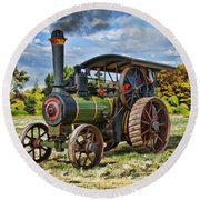 Burrell Steam Engine  Round Beach Towel