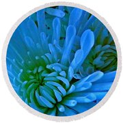 Burst Of Blue Round Beach Towel