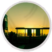 Bus Stop At Sunset Round Beach Towel