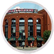 Busch Stadium Home Of The St Louis Cardinals Round Beach Towel