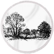 Bushes Round Beach Towel