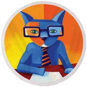Business Cat Round Beach Towel by Mike Lawrence