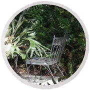 Bust In A Garden With Staghorn Fern Round Beach Towel by Patricia Greer