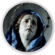 Bust Of Painful Virgin Round Beach Towel