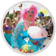 Round Beach Towel featuring the photograph Busty Mermaid by Ed Weidman