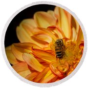 Busy Bee Dahlia Round Beach Towel