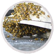 Busy Bees Round Beach Towel by Laura Forde
