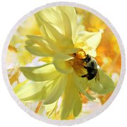 Busy Bumble Bee Round Beach Towel by Judy Palkimas