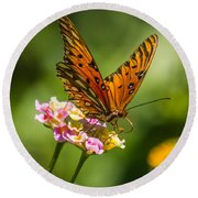 Busy Butterfly Round Beach Towel