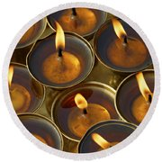 Butter Lamps Round Beach Towel