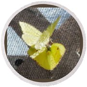 Sulfur Butterflies Mating Round Beach Towel by Belinda Lee