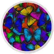Round Beach Towel featuring the photograph Butterflies In Flight Panorama by Kyle Hanson