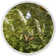 Butterflies In Golden Garden Round Beach Towel by Belinda Greb
