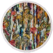 Round Beach Towel featuring the digital art Butterflies In Plum Blossoms And Texture by Nola Lee Kelsey