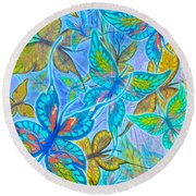 Round Beach Towel featuring the mixed media Butterflies On Blue by Teresa Ascone