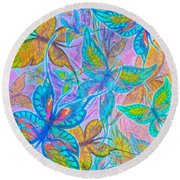 Round Beach Towel featuring the mixed media Butterflies On Lilac by Teresa Ascone