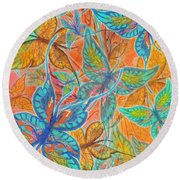 Round Beach Towel featuring the painting Butterflies On Tangerine by Teresa Ascone