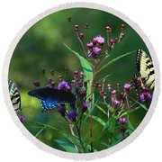 Butterflies Three Round Beach Towel