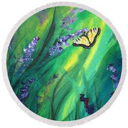 Butterfly 2 Round Beach Towel by Laurianna Taylor