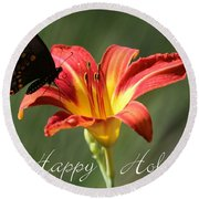 Butterfly And Lily Holiday Card Round Beach Towel