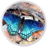 Butterfly Blue  Round Beach Towel by Deena Stoddard