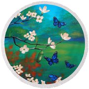 Butterfly Blue Round Beach Towel