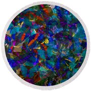 Round Beach Towel featuring the photograph Butterfly Collage Blue by Robert Meanor