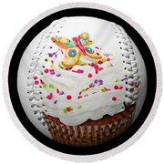 Butterfly Cupcake Baseball Square Round Beach Towel by Andee Design