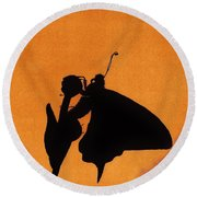 Round Beach Towel featuring the drawing Butterfly by D Hackett