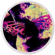 Round Beach Towel featuring the photograph Butterfly Disintegration  by Jessica Shelton