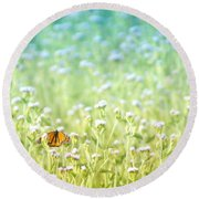 Round Beach Towel featuring the photograph Butterfly Dreams by Holly Kempe