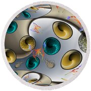 Butterfly Fractal Palette Round Beach Towel