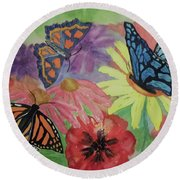 Round Beach Towel featuring the painting Butterfly Garden by Ellen Levinson