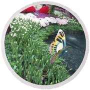 Butterfly Garden Ladybug Flowers Green Theme Round Beach Towel by Navin Joshi