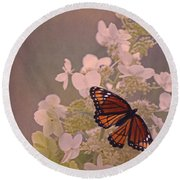 Butterfly Glow Round Beach Towel by Elizabeth Winter