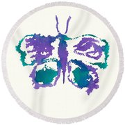 Round Beach Towel featuring the painting Butterfly Inkblot by Frank Bright