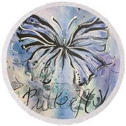 Butterfly Mixed Media Painting Round Beach Towel
