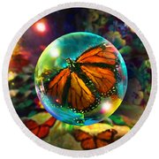 Round Beach Towel featuring the painting Butterfly Monarchy by Robin Moline