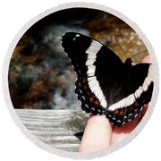 Butterfly On Fingertips Round Beach Towel